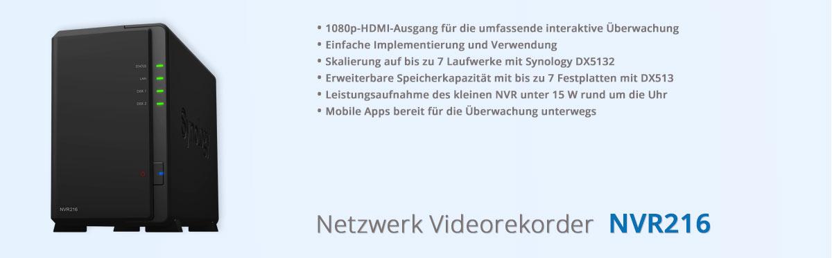 Synology NVR216 Netzwerk Videorecorder für Videoüberwachung